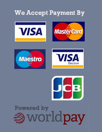 We Accept Visa, Mastercard, Maestro, Visa Electron and JCB, powered by WorldPay